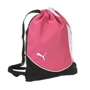 Puma pink, white, and black drawstring backpack